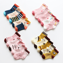 5 pairs kids cotton socks 2019 winter girls boys toddler cartoon sock newborn infant baby Children fox unicorn warm school