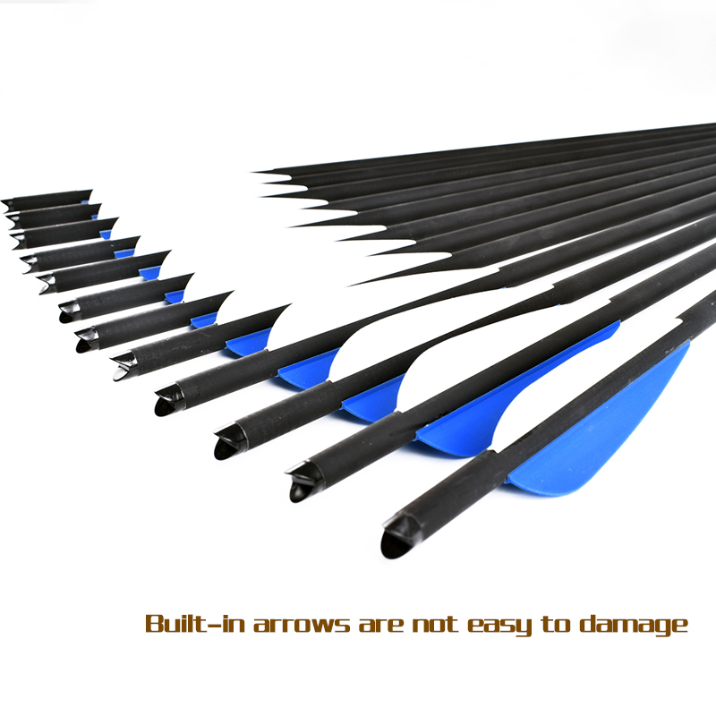 16 17 18 20 20 22 Inch Crossbow Bolt Carbon Arrow Blue White Feather Replaceable Arrow For Recurve Composite Bow Hunting Archery in Bow Arrow from Sports Entertainment