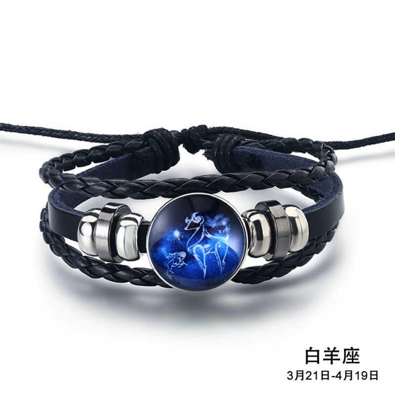 Fashion Twelve Constellations Handmade Bracelet Delicacy punk Leather Bracelet Zodiac Bracelet for Men Women Jewelry Gifts