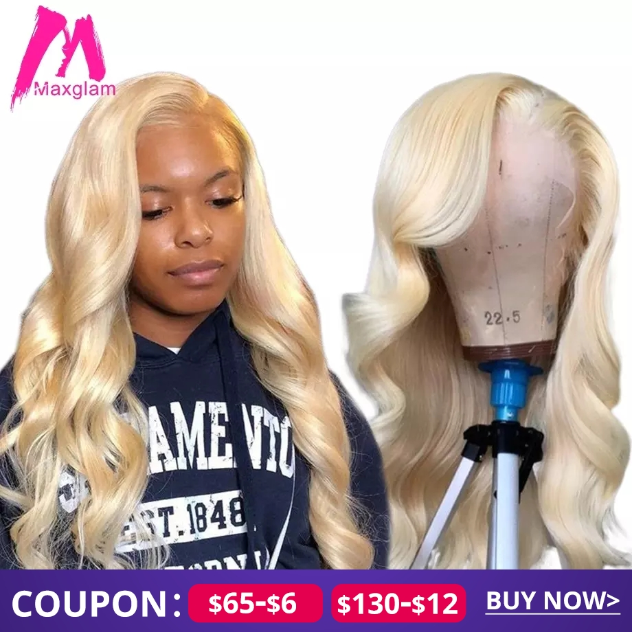 Blonde 613 Lace Front Human Hair Wigs For Black Women Brazilian Pre Plucked Body Wave Short Long Afro Colored Remy Hair Wig