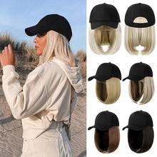 SHANGZI Short Wavy baseball wig Synthetic Natural bob Wig Black hat wigs cap with Hair Naturally Connect Baseball Cap Adjustable cheap High Temperature Fiber Daily Use CN(Origin) Kinky Straight 1 Piece Only Average Size