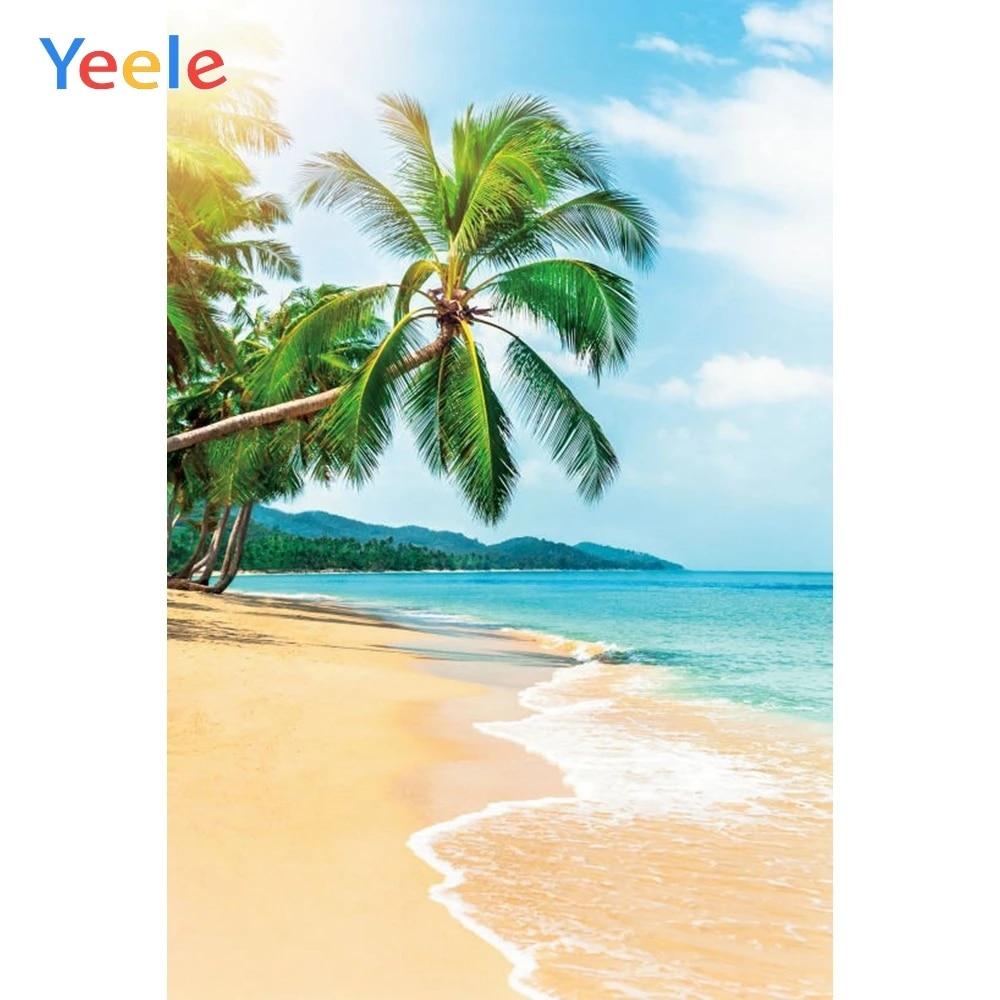 TCReal Tropical Beach Background Photography Studio Palm Leaf Ocean Island Seaside Scene Baby Birthday Summer Wedding Photography Background 8x6ft,chy085