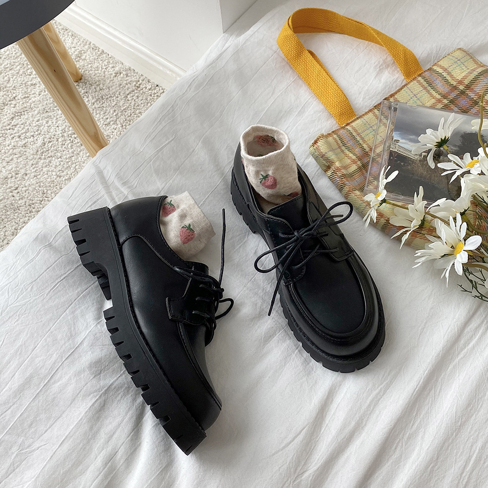 British Small Leather Shoes Women's Platform Heels Sexy Autumn 2021 New Retro Thick soled Lace up Shoes