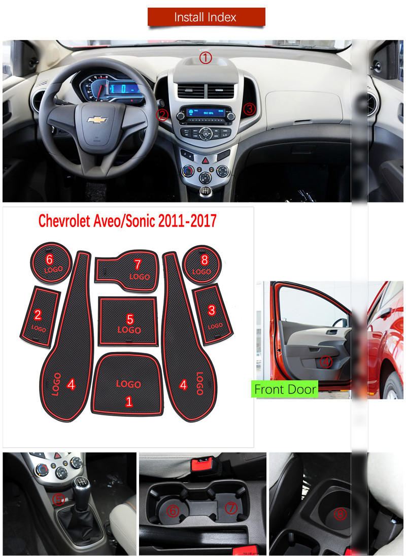 Door Groove Mat For Chevrolet Aveo Sonic 2011 2012 2013 2014 2015 2016 2017 Chevy T300 MK2 Accessories Anti-Slip Mat Gate Slot