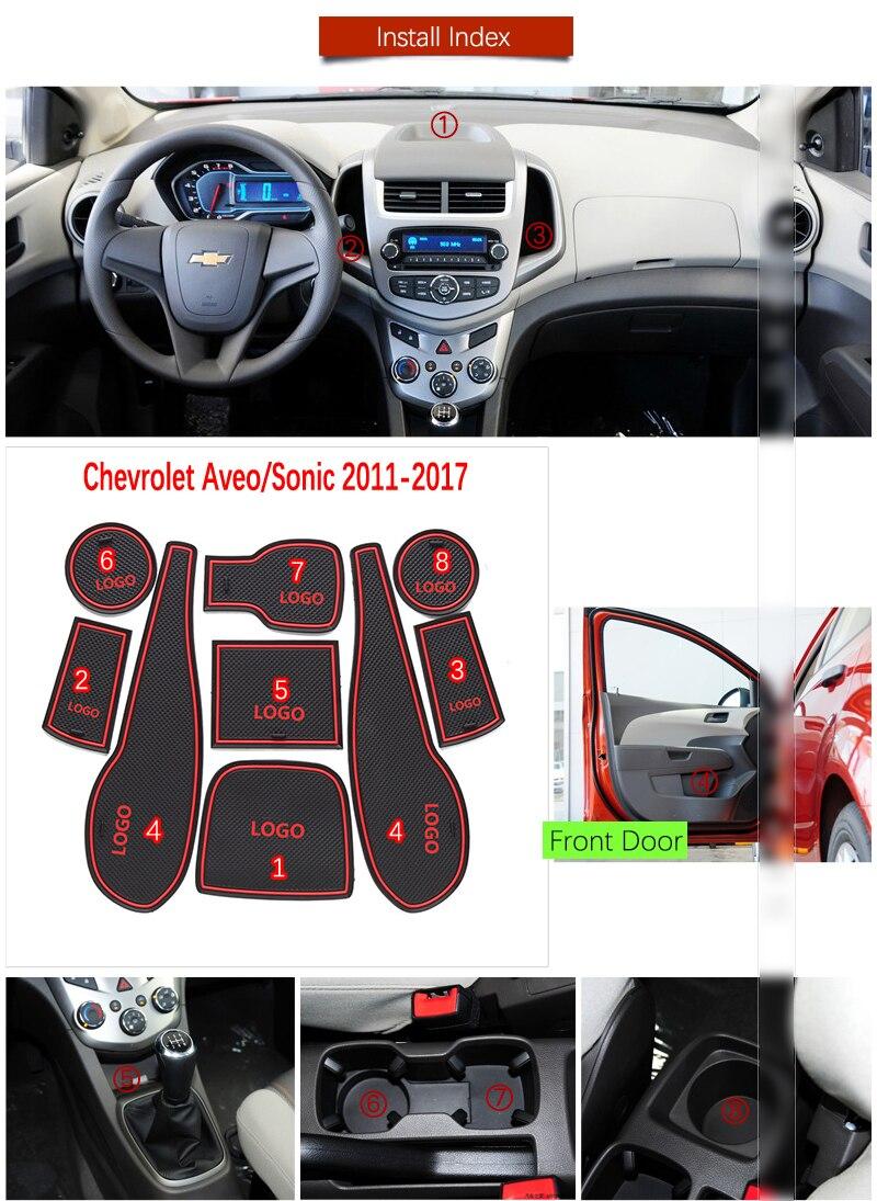 Porte Rainure Tapis Pour Chevrolet Aveo Sonic 2011 2012 2013 2014 2015 2016 2017 Chevy T300 MK2 Accessoires Anti-dérapant Tapis de Porte Fente