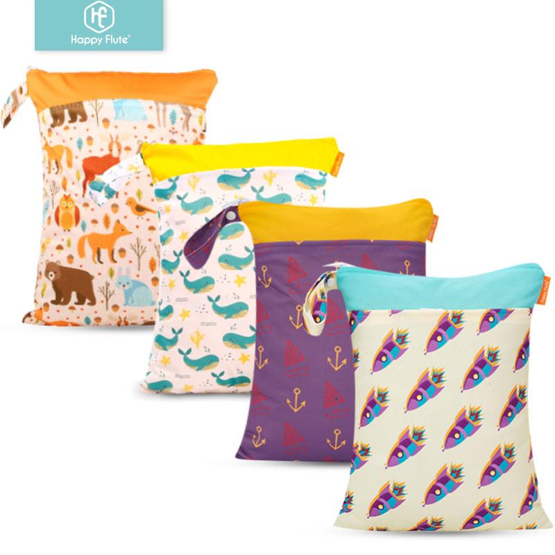 Happy Flute 1PC Reusable Waterproof Fashion Prints Wet Dry Diaper Bag Double Pocket Cloth Handle Wetbags 30*40CM Wholesale