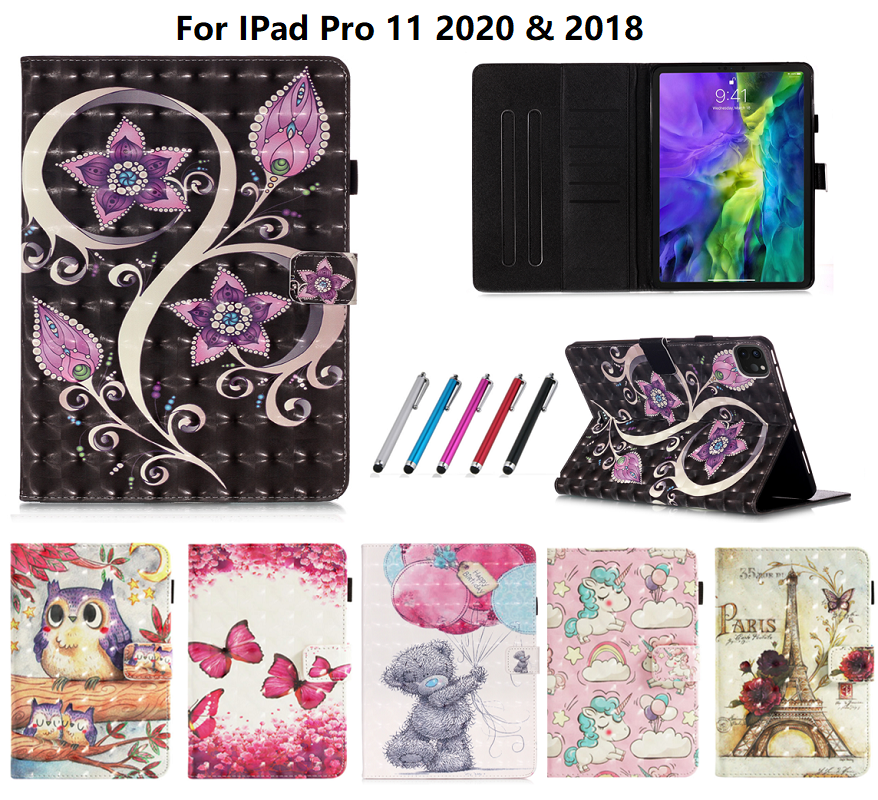 Unicorn For Coque Bear Butterfly Case 11 iPad Pro Funda Cover Leather 2020 For Owl Tablet
