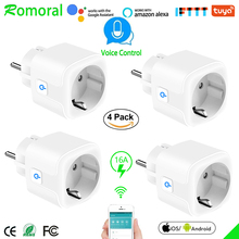 16A Smart WiFi Plug with Power Monitor, wifi wireless Smart Socket Outlet with Alexa Google Home Voice Control