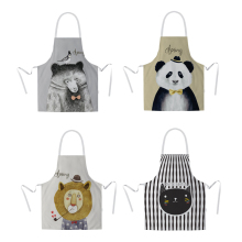 Nordic Creative Trend Cartoon Kitchen Oil-proof, Pollution-proof, Water-proof, Clean Cotton And Hemp Sleeveless Apron For Cookin