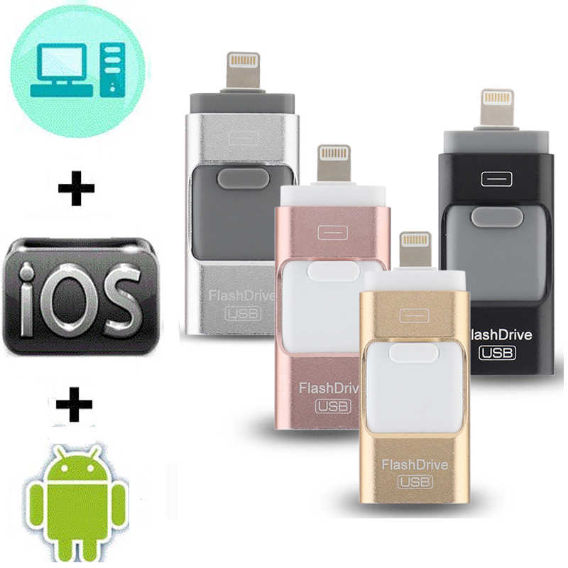 Otg Usb Flash Drive Voor Iphone X/8/7/7 Plus/6/6S/5/se Ipad Metalen Pendrive Hd Memory Stick 8G 16G 32G 64G 128G Flash Driver 3.0