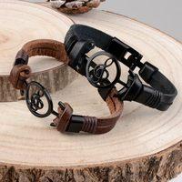Pulsera de piel auténtica para hombre y mujer, brazalete único Punk con notas musicales, cuerda Simple vikinga, color negro y marrón, joyería