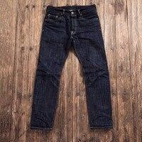 SD107 0001 Special Offer! heavy weight raw indigo selvage unwashed denim pants unsanforized thick raw denim jean 17oz