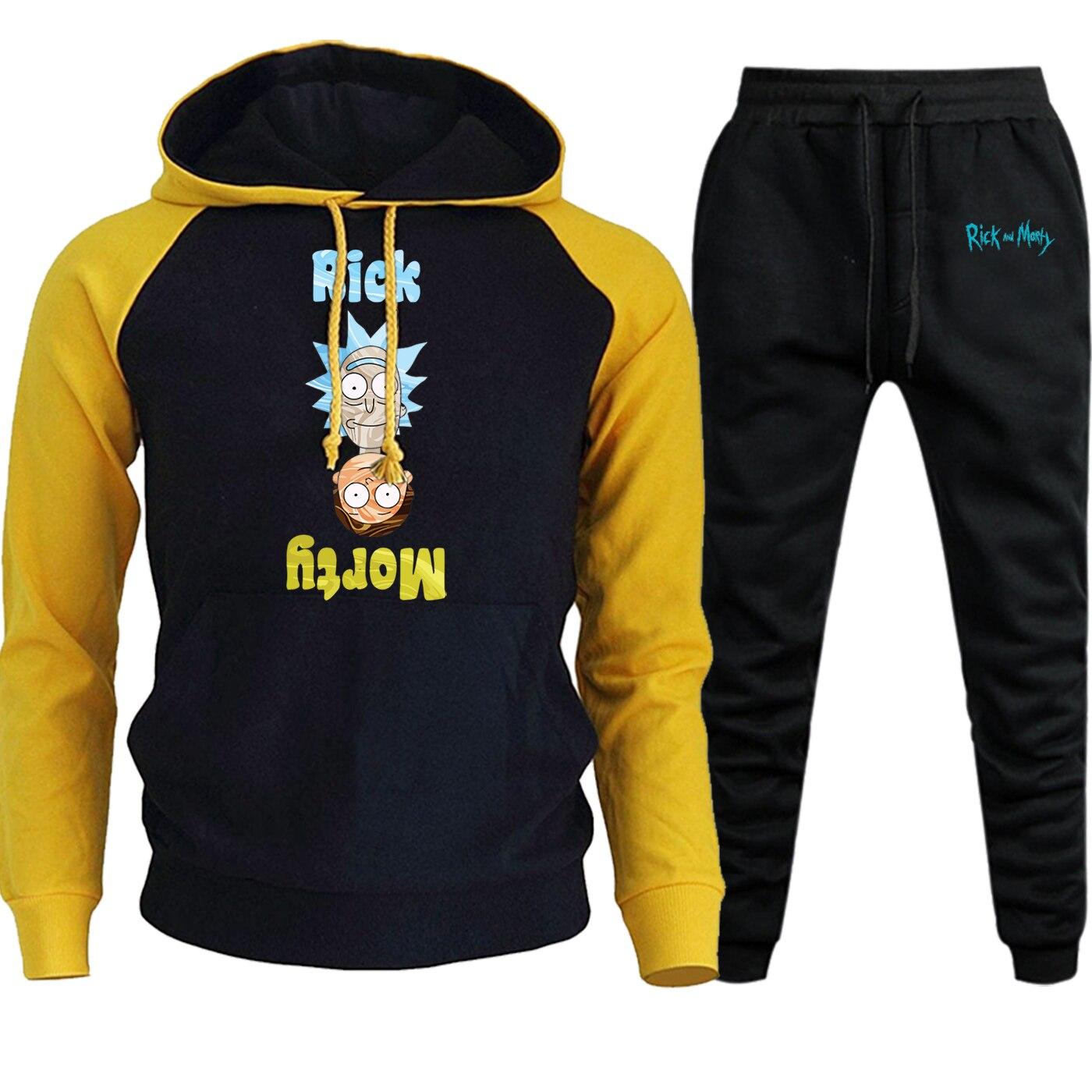 Rick And Morty Streetwear Hoodies Raglan Mens Suit Autumn Winter 2019 New Cartoon Funny Pullover Hip Hop Hoody+Pants 2 Piece Set