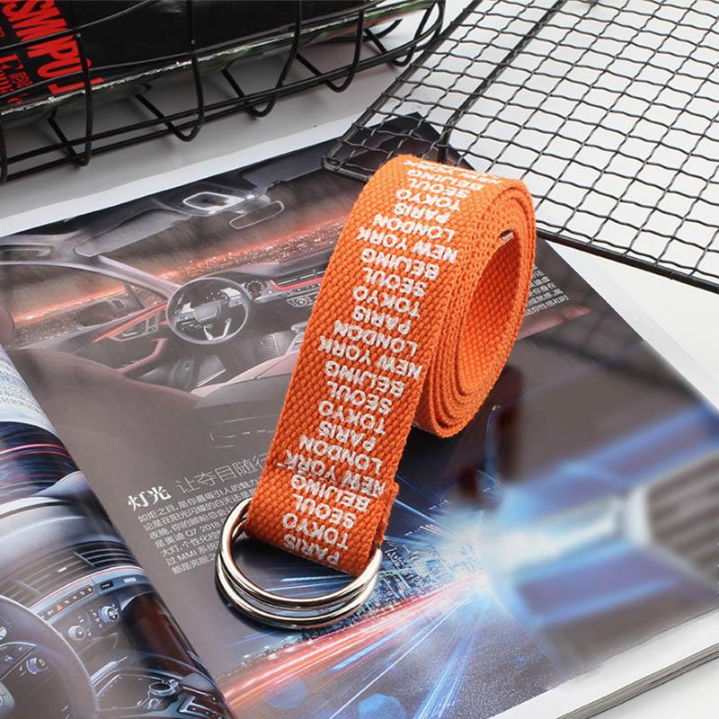 24 стиля, унисекс, холщовые ремни с буквенным принтом, d-образное кольцо, двойная пряжка, панковский ремень на талию, для женщин, мужчин, подростков, длинный широкий белый ремень - Цвет: Orange Small letter