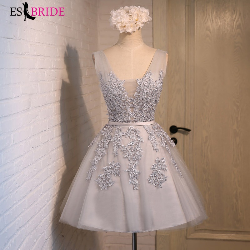 Short Evening Dress ES3034-1 A Line Sexy V-neck Appliques Lace Party Gown Formal Dress Custom Homecoming Dresses Robe De Soiree