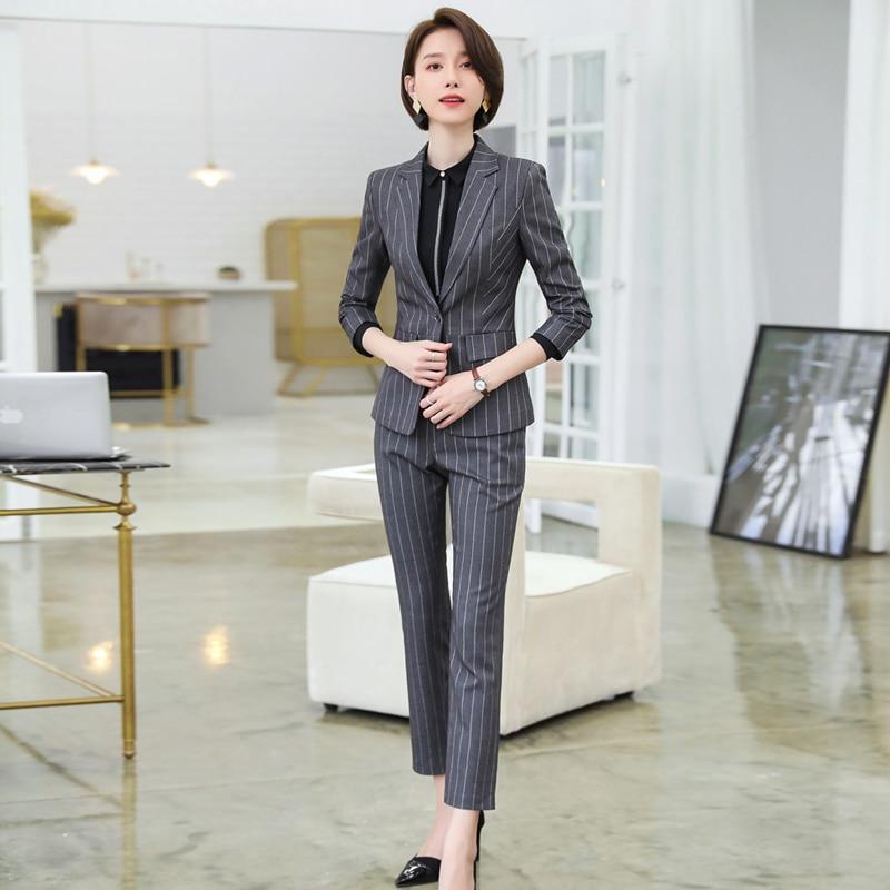 New Fashion Professional Wear Women's Suit Autumn And Winter Season Striped Black Gray Large Size Blazer Female Office Pants Set