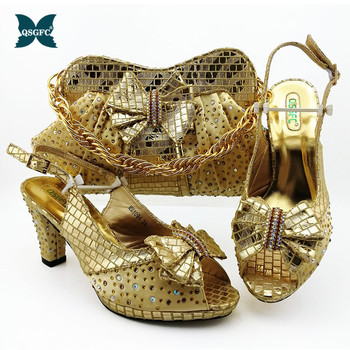 New Arrival African Shoes and Matching Bag Italian design Shoes and Bags To Match Shoes with Bag Set Decorated with Rhinestone
