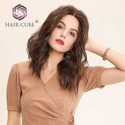Haircube Lace Front Synthetische Pruiken 16 Donkerbruin met Natuurlijke Haarlijn Synthetisch Haar Water Golf U Deel Lace Pruiken voor Vrouwen