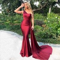Elegant One Shoulder Maxi Dress Burgundy Sleveless Draped Bodycon Floor Length Long Evening Party Dress Gown