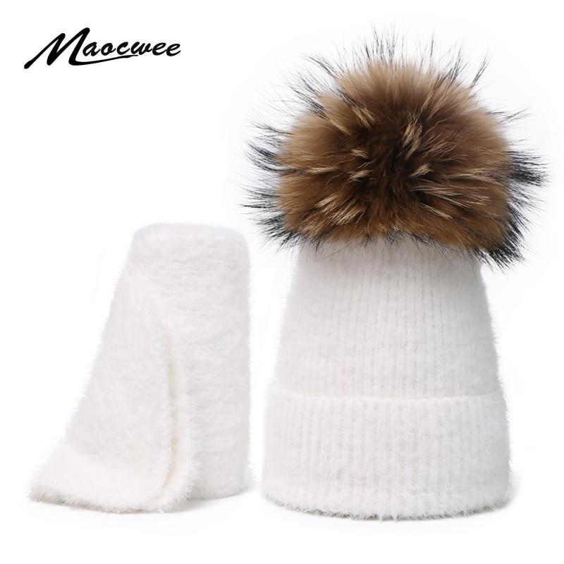 Children Winter Warm Adult Hat Scarf Set Scorpion Ball Head Cap Marten Hair Men And Women Solid Color Soft Crochet Rabbit Fur