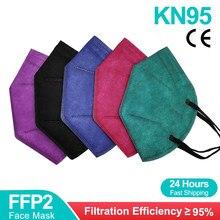 Kn95 máscara facial filtro de 5 camadas porta poeira pm2.5 mascarillas ffp2 não tecido saúde protetora máscara n95 entrega rápida
