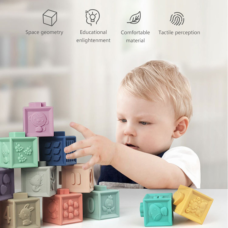 12pcs Soft Rubber Blocks Baby Embossed Grab Toys Baby 3D Touch Building Blocks Kids Hand Balls Educational Teether Squeeze Toy