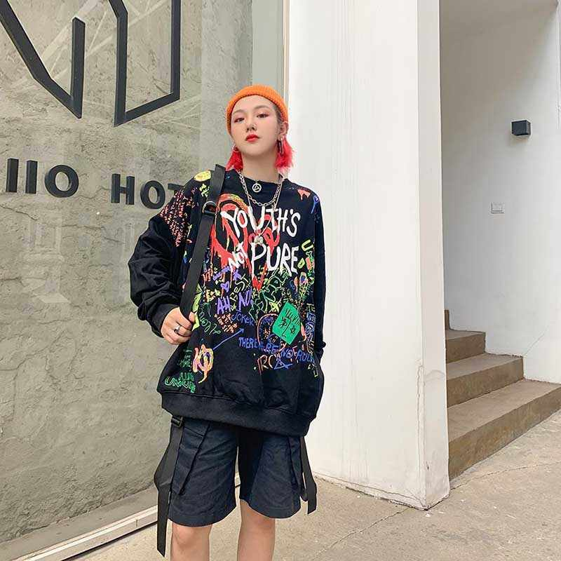 NiceMix אופנה 2019 מכתב הדפסת נשים נים Vintage Loose סלעית נשים סוודרים ארוך שרוול בתוספת קטיפה סווטשירט