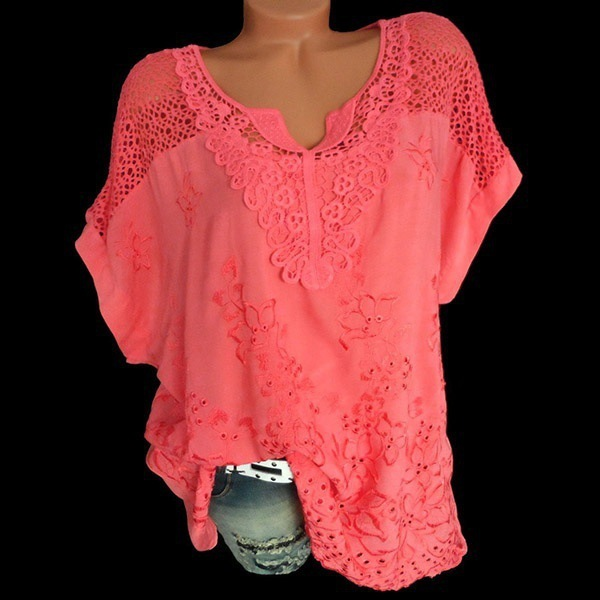 2020 Summer New Women Short Sleeve Solid Color Shirt Fashion Openwork Lace Crochet Shirt Street Casual 5 Color Shirt Size S-5XL 6