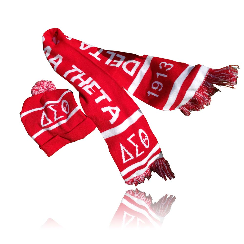 Delta Sigma Theta Hat Scarf Set Of Hat And Scarf For Women Girl Warm Beanies DST Hat For Girl Ring Scarf Pompoms Winter Hats