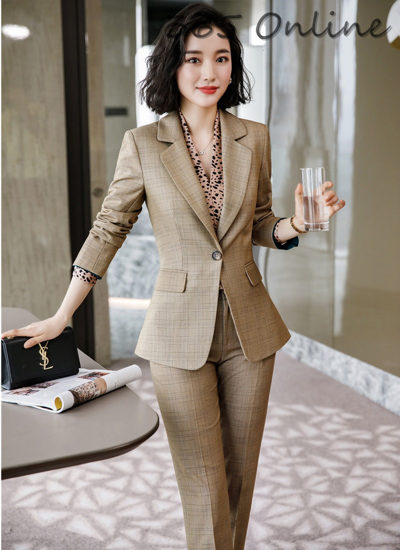 Formal Uniform Designs Pantsuits High Quality Fabric Women Business Suits With Pants And Jackets Coat For Ladies Office Blazers