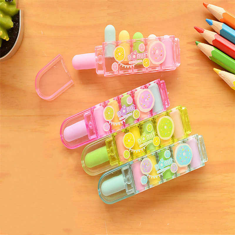 1 Set Cute Bullet Rubber Mini Erasers for Kids Can Replace Type Children Art Drawing School Supplies Stationery