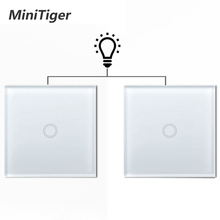 Minitiger EU Standard Wall Ligth Touch Switch 1/2/3 Gang 2 Way Control Touch Screen Switch, Crystal Glass Panel, 220-250V switch eu standard switch wall touch switch luxury white crystal glass 1 gang 1 way switch 220v lamp touch sensor wall switch