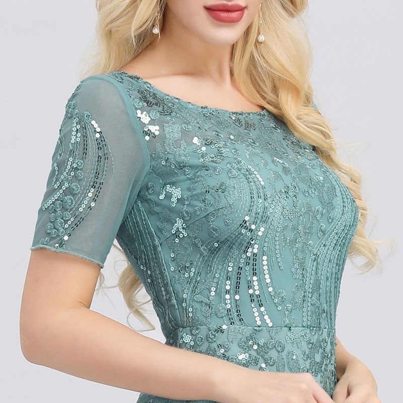 ReinaLiza Mermaid O Neck Short Sleeve Lace Appliques Tulle Dress