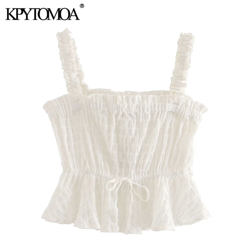 KPYTOMOA Women 2020 Sweet Fashion Ruffled Cropped Blouses Vintage Sleeveless Drawstring Tied Straps Female Shirts Chic Tops