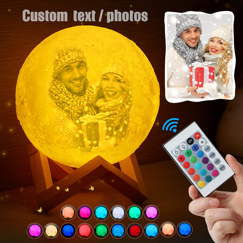 Photo/Text Custom Moon Lamp Night Light 2/16 Colors Change 3D Print Rechargeable Personalized Gift For Kids Wife's Moon Light