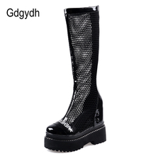 Summer Boots Platforms Patent Gdgydh Mesh Knee Black White Genuine-Leather Fashion Sole