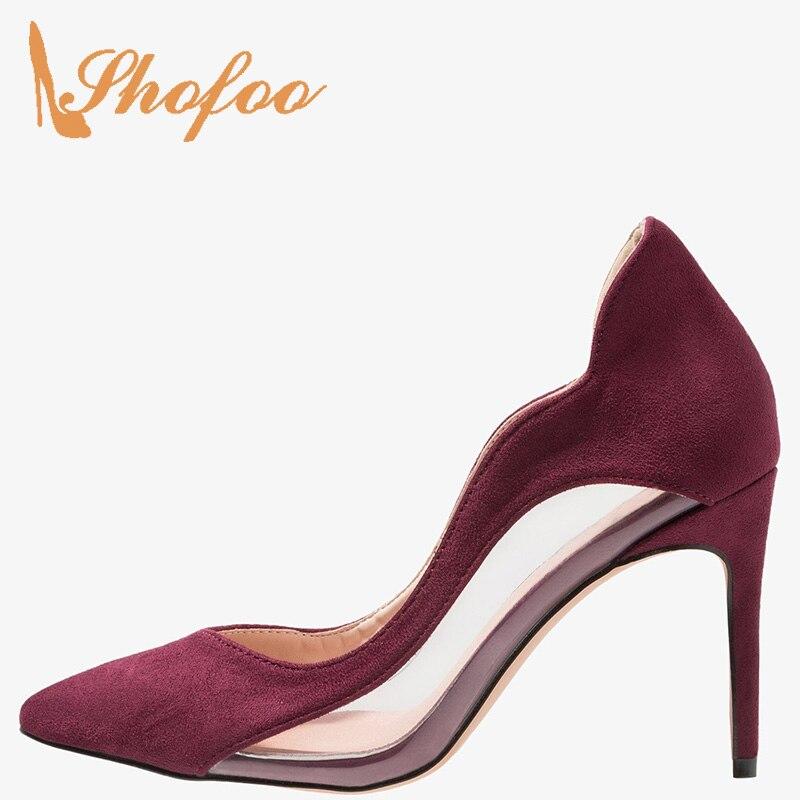 Patchwork bordeaux PVC talons aiguilles bout pointu escarpins femme Super haut talons fins femme bureau robe chaussures grande taille 33 35 Mature