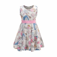 Bongawan Girls Dresses Sleeveless 3-8Years Fashion Children Clothing Summer Cotton  Princess for Birthday Party