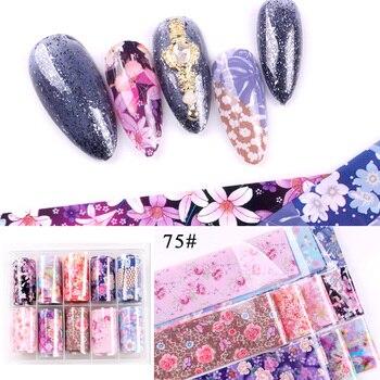 1set/lot 2.5*100cm Butterfly Spring Mix Flower Starry Sky Nail Foils set Transfer Sticker DIY Manicure Decoration Decals - 75