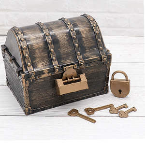 Storage-Box Pirate Treasure Vintage Gold-Coins Plastic Children with Keys Chest Early-Learning