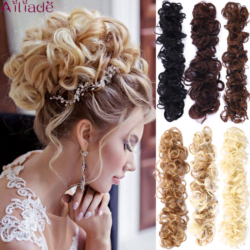 AILIADE Twining Hair Bun Curly Chignon Women Heat Resistant Synthetic Hair Extensions Updo Donut Hairpieces Ponytail Hair