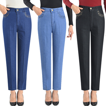 Size 28-40 Jeans Woman Spring Summer Women Casual High Waist Black Blue Pocket Mom Jeans Denim Straight Pant 6XL Straight Jeans