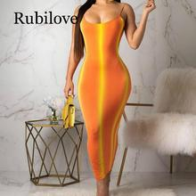 Rubilove Gradient Striped Sexy Bodycon Dress Women Neon Orange Spaghetti Strap Backless Party Summer O Neck Sleeveless Bea