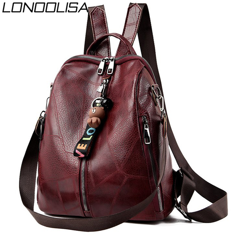 Multifunction Retro Backpack Women Bagpack Leather School Bags For Teenage Girls Shoulder Bags For Women 2020 Travel Backpack