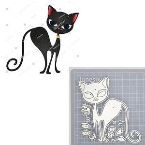 Милая Черная кошка, металлическая режущая штампа, трафарет животных для скрапбукинга и открыток «сделай сам», декоративные штампы