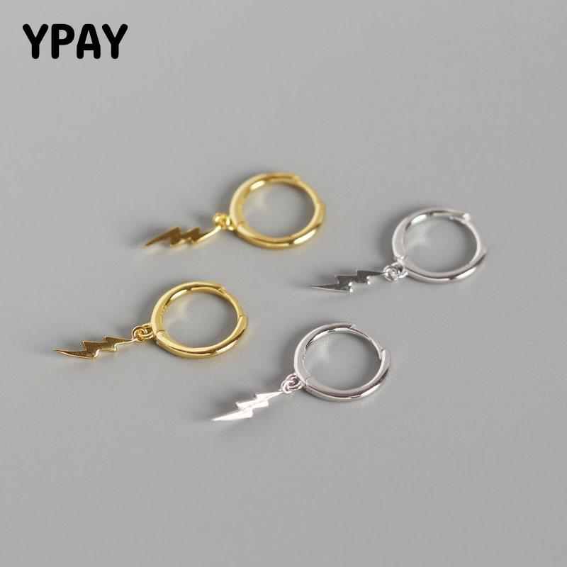 YPAY Solid 925 Sterling Silver Hoop Earrings for Women INS Geometric Lightning Pendant Earring Brinco Fine Jewelry Gifts YME513
