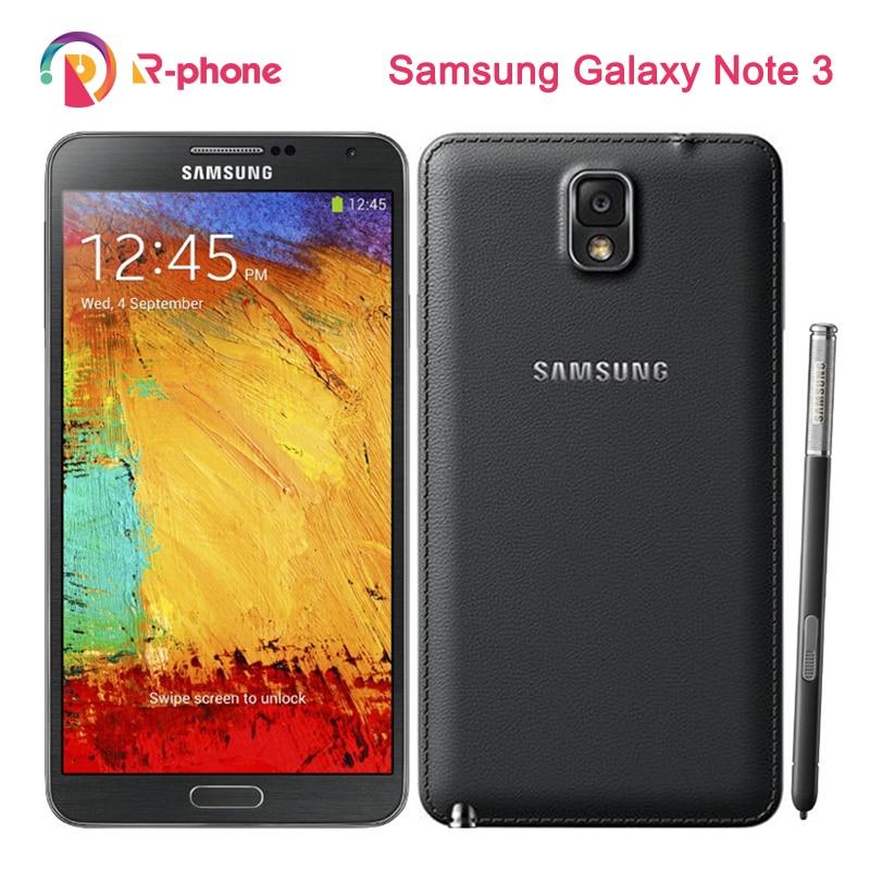 Оригинальный samsung Galaxy Note 3 N900 N9005 разблокированный мобильный телефон четырехъядерный 3 Гб ram 5,7 '13MP gps отремонтированный Andriod телефон