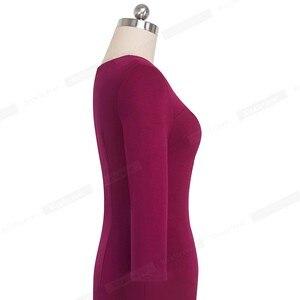 Image 5 - 素敵な永遠のヴィンテージエレガントな純粋な色オフィスレディース vestidos ビジネスパーティーボディコン秋女性ペンシルドレス B555