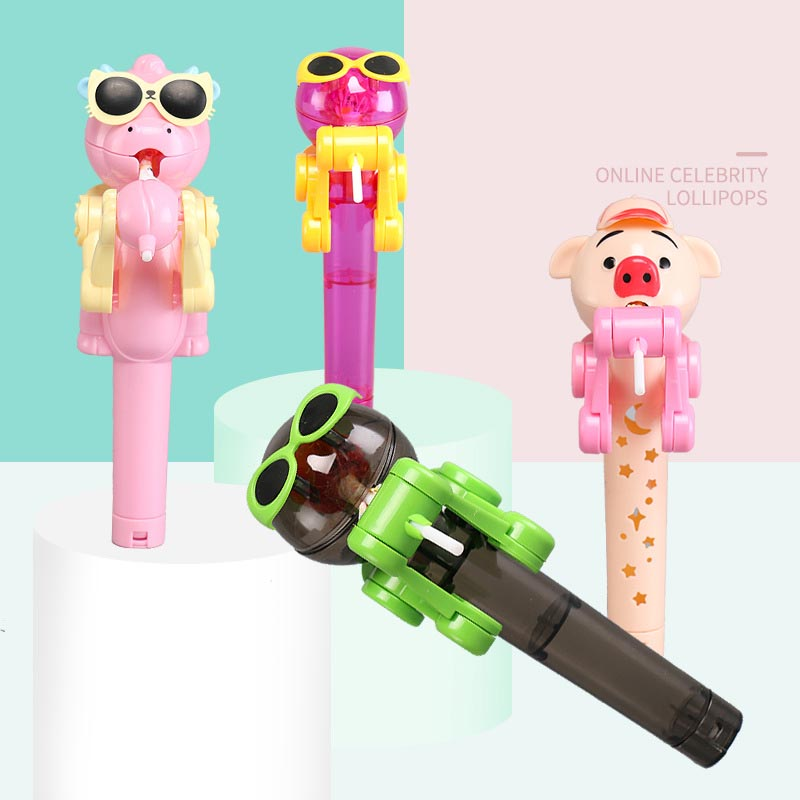 Newest Creative Personality Toys Lollipop Holder Decompression Toys Lollipop Robot Decompression Candy Dustproof Toy Gift