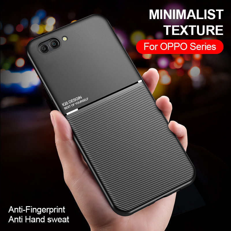 leather texture Matte Case for Oppo A3 A3S/A5/AX5 A5S/AX5S/AX7/A7/A7N A9/F11/A9X F9 Pro/A7X Realme 2 pro c1 Magnetic Cover Funda image
